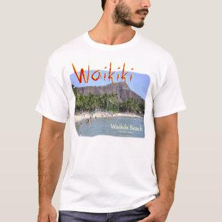 ダイヤモンドの頭部が付いているWaikikiのビーチホノルルハワイ Tシャツ