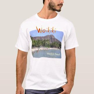 ダイヤモンドの頭部のヤシの木が付いているWaikikiのビーチ Tシャツ