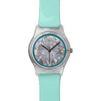 ダイヤモンドの顔の金ゴールド1/4時間 腕時計