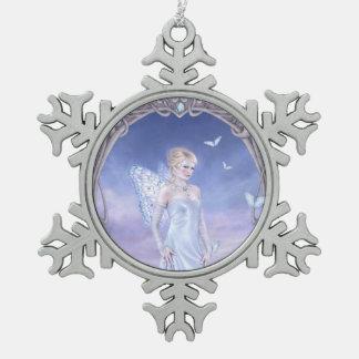 ダイヤモンドのBirthstoneの妖精の雪片のオーナメント スノーフレークピューターオーナメント