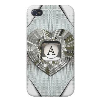 ダイヤモンドのiphone 4ケースのハートに署名します iPhone 4/4Sケース