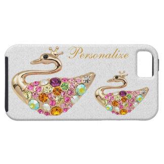 ダイヤモンドを持つ模造のな金ゴールドの孔雀はiPhone 5を宝石で飾ります iPhone SE/5/5s ケース