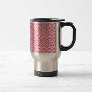 ダイヤモンドスクロールパターンが付いているかわいらしいショッキングピンクの花 トラベルマグ