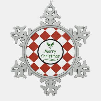 ダイヤモンドパターンとのメリークリスマス スノーフレークピューターオーナメント