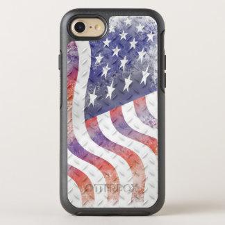 ダイヤモンドパターン金属の波状の米国旗 オッターボックスシンメトリーiPhone 8/7 ケース