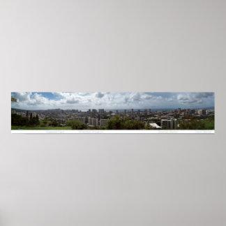 ダイヤモンドヘッドWaikiki -ホノルル180°のパノラマ ポスター