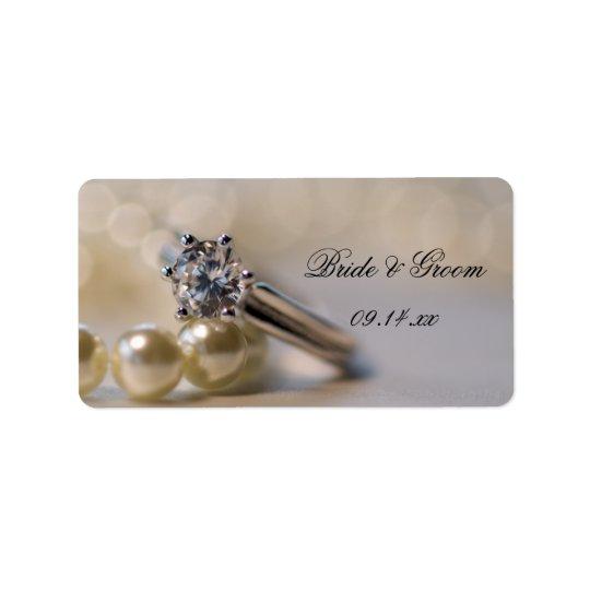 ダイヤモンド指輪および真珠の結婚式の引き出物のラベル ラベル