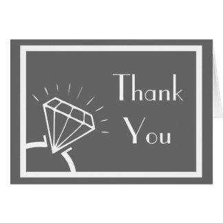 ダイヤモンド指輪のシルエットは感謝していしています(ダークグレー) カード