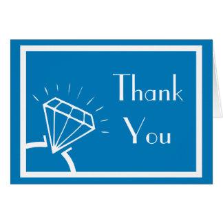 ダイヤモンド指輪のシルエットは感謝していしています(青/白) カード