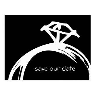 ダイヤモンド指輪の保存日付の郵便はがき ポストカード