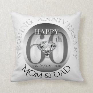 ダイヤモンド第60の結婚記念日の枕 クッション