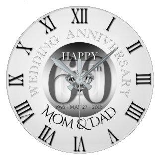 ダイヤモンド第60の結婚記念日Rの時計BローマN ラージ壁時計