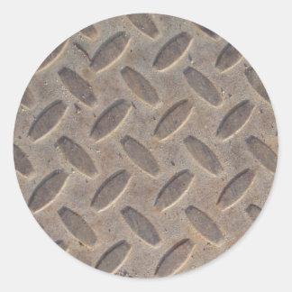 ダイヤモンド|プレート|鋼鉄|床 丸形シールステッカー