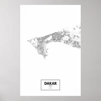 ダカール、セネガル(白の黒) ポスター