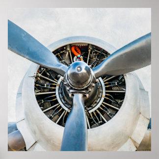 ダグラスDC-3の航空機。 プロペラ ポスター