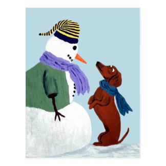 ダックスフントおよび雪だるまの郵便はがき ポストカード