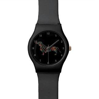 ダックスフントのウインナー犬花パターン水彩画の芸術 腕時計