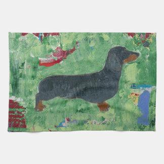 ダックスフントのギフトのウインナー犬のモダンな抽象美術 キッチンタオル
