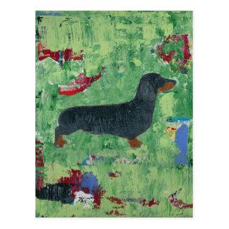 ダックスフントのギフトのウインナー犬のモダンな抽象美術 ポストカード