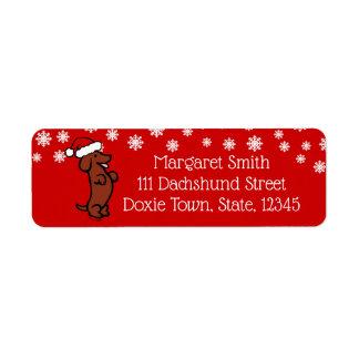 ダックスフントのクリスマスのサンタの帽子のラベル ラベル