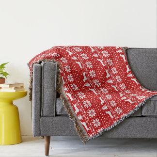 ダックスフントのクリスマスのセーターパターン赤 スローブランケット