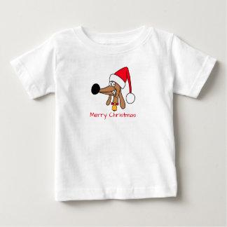 ダックスフントのクリスマスのベビーの罰金のジャージーの生意気なティー ベビーTシャツ