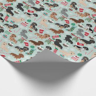 ダックスフントのクリスマスの包装紙 ラッピングペーパー