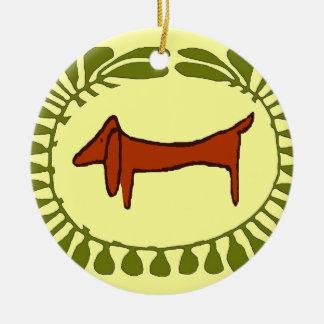 ダックスフントのクリスマスの楕円形 セラミックオーナメント