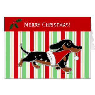 ダックスフントのクリスマスの漫画の雪片 カード