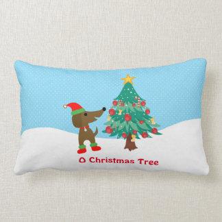 """ダックスフントのクリスマスツリーの綿の枕13"""" x 21 """" ランバークッション"""