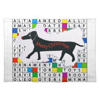 ダックスフントのクロスワードパズル及びクリスマスのテーマのランチョンマット ランチョンマット