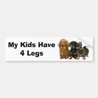 ダックスフントのバンパーステッカーに私の子供4本の足があります バンパーステッカー
