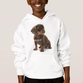 ダックスフントの子犬のフード付きのスエットシャツ