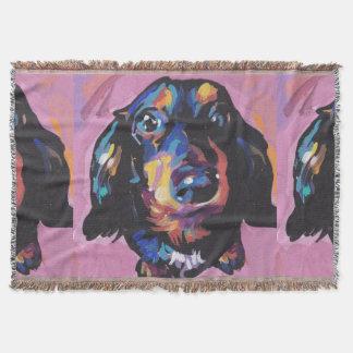 ダックスフントの明るいカラフルの破裂音犬の芸術 スローブランケット