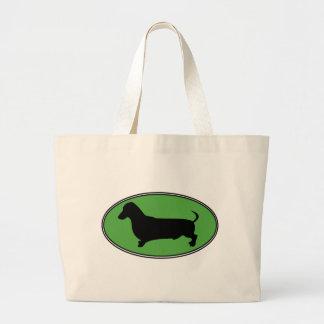 ダックスフントの楕円形の緑明白 ラージトートバッグ
