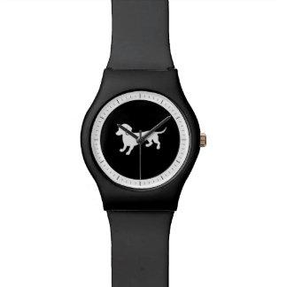 ダックスフントの白黒デザイン 腕時計