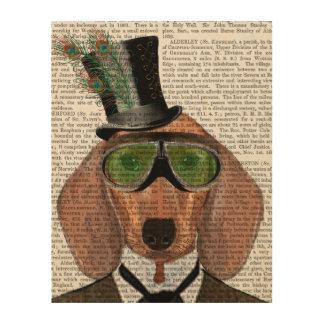 ダックスフントの緑のゴーグルのシルクハット ウッドウォールアート