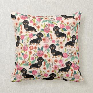 ダックスフントの花柄の枕かわいい犬のギフト クッション