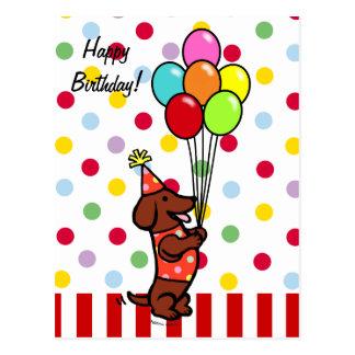 ダックスフントの誕生日の漫画の気球 はがき