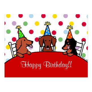 ダックスフントの誕生日の漫画 ポストカード