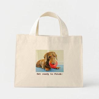 ダックスフントの買い物袋を取って来る準備をして下さい ミニトートバッグ