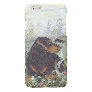 ダックスフントの長い毛の子犬の夢みる人のIphoneの例 光沢iPhone 6ケース