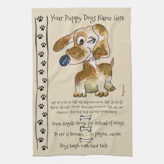 ダックスフントの雑種の漫画犬は台所を引用します キッチンタオル