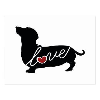 """ダックスフントの""""ウィーナー犬""""愛 ポストカード"""