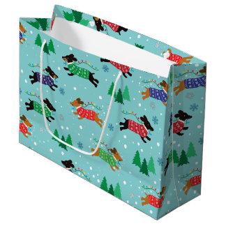 ダックスフントのDoxie犬のクリスマスの休日 ラージペーパーバッグ