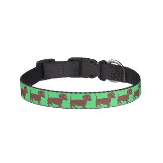 ダックスフントパターン緑のドッグカラー ペット首輪