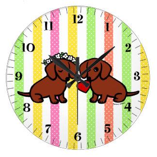 ダックスフント愛カップルの漫画 ラージ壁時計