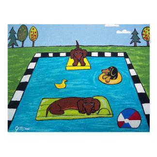ダックスフント犬にプールを囲んでのパーティの郵便はがきがあります ポストカード