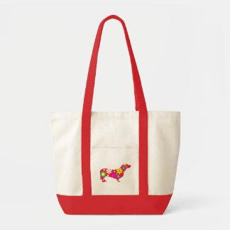 ダックスフント犬のかわいいファンキーな花柄の花のカラフル トートバッグ
