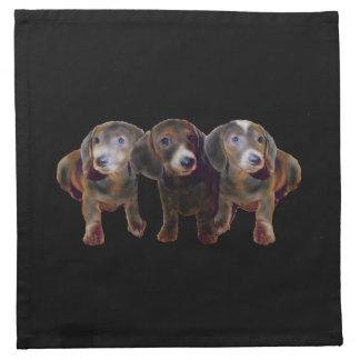 ダックスフント犬のアメリカ人のMoJoの3つのナプキン ナプキンクロス
